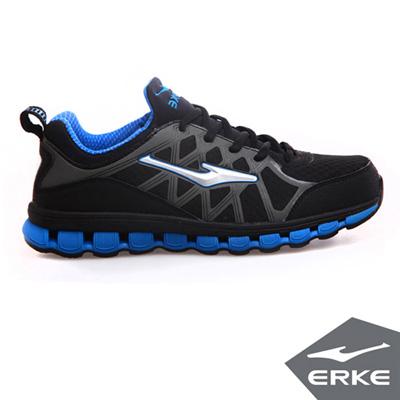 ERKE 鴻星爾克。男運動功能慢跑鞋-正黑/彩藍