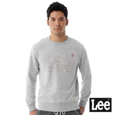 Lee 厚T 紅色LOGO車線-男款-麻花灰
