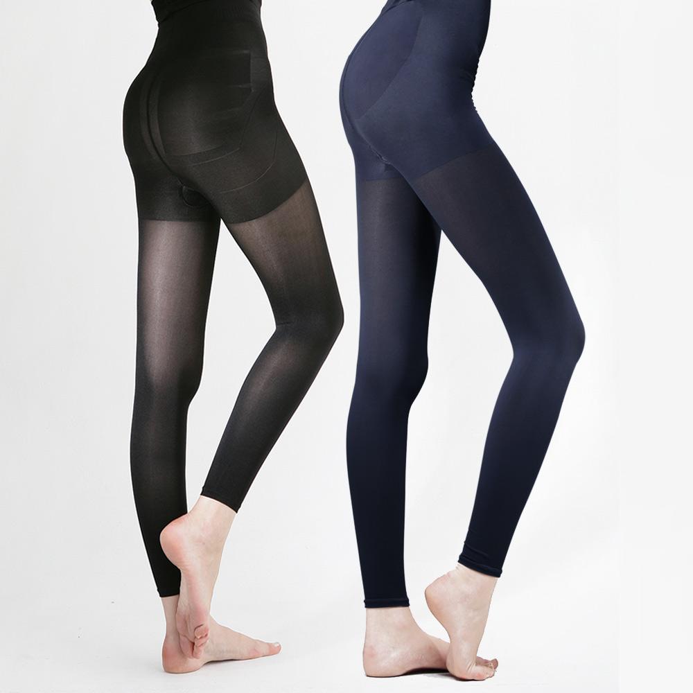 足下物語  台灣製熱感應280丹美臀纖腰內搭褲 2件組S-XL(黑藍)