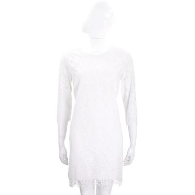 ERMANNO SCERVINO 白色縷空花朵蕾絲七分袖洋裝
