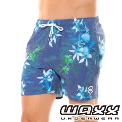 WAXX熱浪系列-藍色叢林快乾型男海灘褲(15英吋)