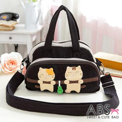 ABS貝斯貓 可愛貓咪拼布 手提斜背兩用小包88-182 - 典雅黑