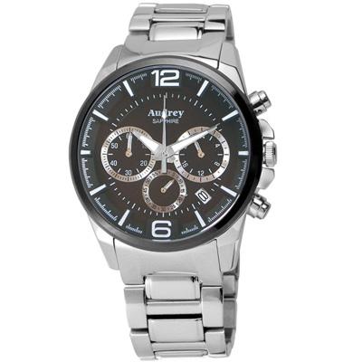 Audrey 歐德利 躍動時尚三眼計時腕錶(AUM5635-A)黑面/42mm