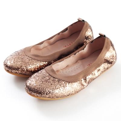 G.Ms.旅行女孩II-亮片鬆緊口可攜式軟Q娃娃鞋(附鞋袋)-古銅金