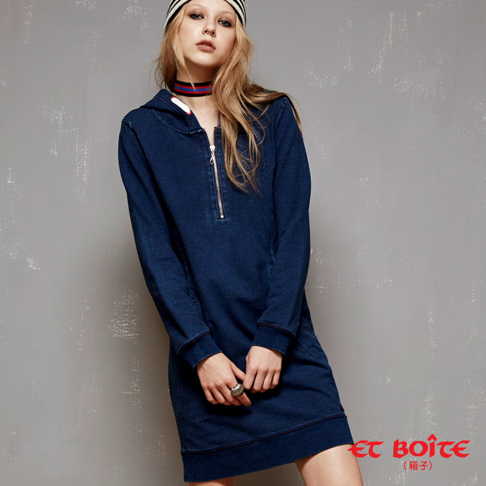 ETBOITE 箱子 BLUE WAY 率性連帽拉鍊設計丹寧連身裙
