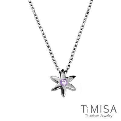 TiMISA 小花漾 晶鑽(3色)純鈦(極細鎖骨)項鍊B
