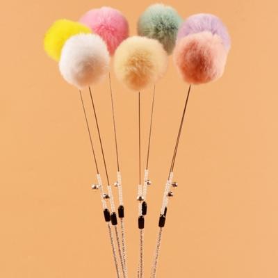 DYY 貓玩具兔毛球逗貓棒-60cm*2支