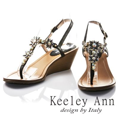 Keeley Ann 太陽花朵芒刺鑲鑽全真皮楔形T字夾腳涼鞋(黑色)
