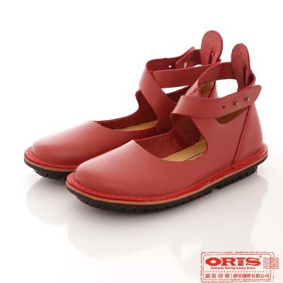 ORIS 女款 復古交叉休閒包頭娃娃鞋~紅 69207