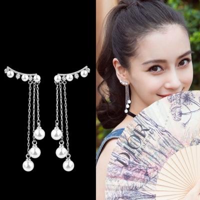 梨花HaNA 韓國女神邂逅鋯石珍珠925銀流蘇耳環