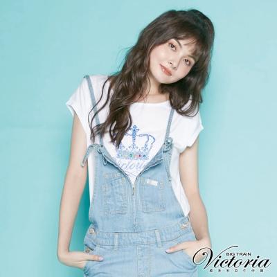 Victoria 皇冠貼鑽LOGO落肩短袖T-女-白色
