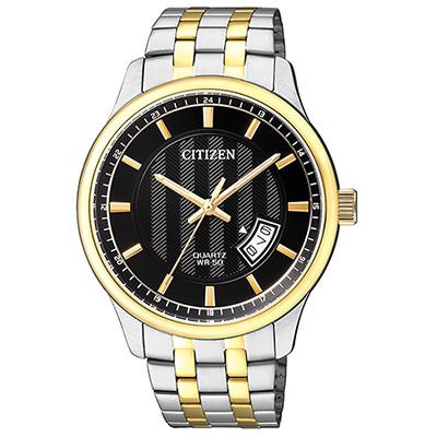CITIZEN 黑面不鏽鋼雙色錶帶石英男仕手錶(BI1054-80E)-黑/40mm