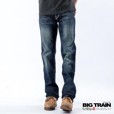 BIG TRAIN 合身繡線小直筒褲-男-中藍