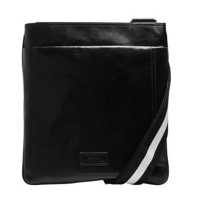 BALLY TERYS經典雙色織帶小牛皮拉鍊雙層斜背郵差包(黑)