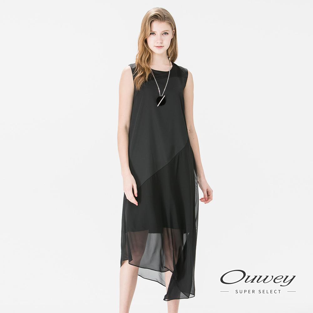 OUWEY歐薇 都會簡約斜裁背心洋裝(黑)