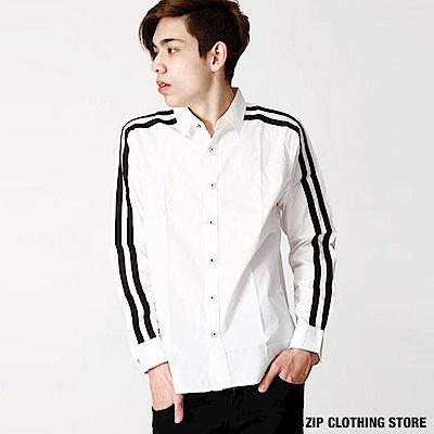 黑白設計款長袖襯衫(6色) ZIP日本男裝