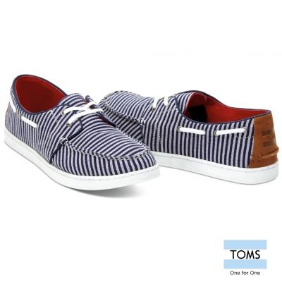 TOMS 條紋麂皮拼接帆船休閒鞋-男款(藍)