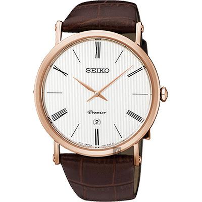 SEIKO 精工 Premier 超薄石英腕錶(SKP398J1)-銀x玫瑰金框/40mm