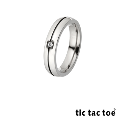 tic tac toe 傾心白鋼男戒