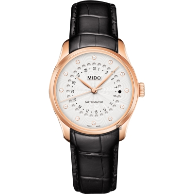 MIDO美度 Belluna 系列日期真鑽女錶-白x玫塊金框/32mm