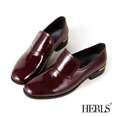HERLS-內真皮個性漆皮樂福鞋-酒紅