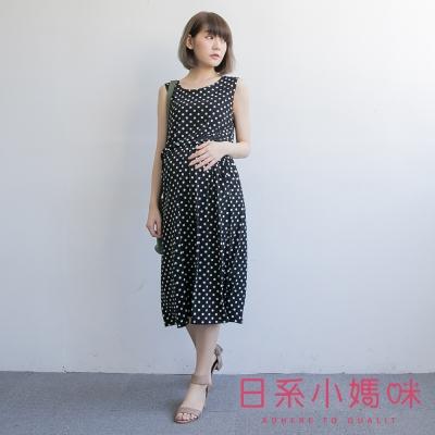 日系小媽咪孕婦裝-韓製孕婦裝-水玉點點縮腰無袖雪紡