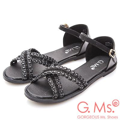 G.Ms. 蕾絲皮繩交叉平底涼鞋-黑色