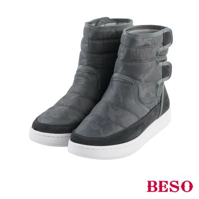 BESO 勁酷率性 鋪棉迷彩吸震防滑靴~灰