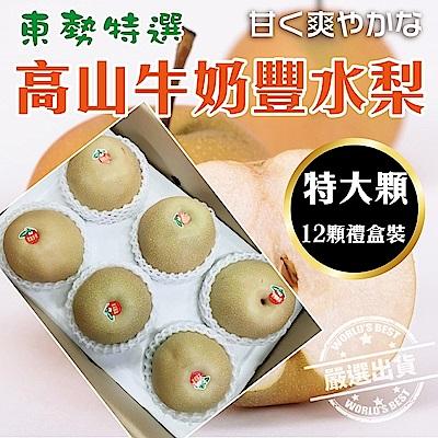 【天天果園】東勢特選高山牛奶豐水梨(每顆500g) x12顆