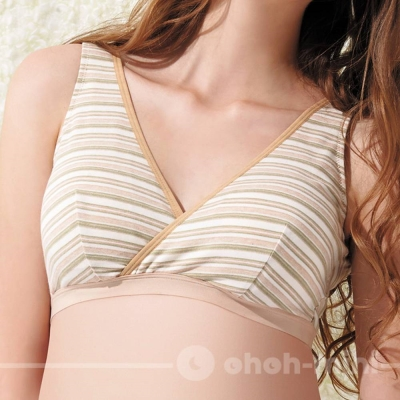 【ohoh-mini 孕婦裝】有機彩棉‧休閒交叉款哺乳內衣/孕婦內衣(卡其)