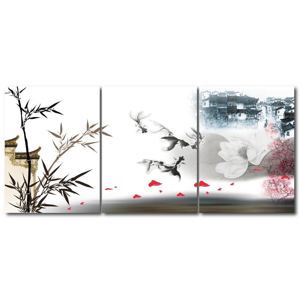 橙品油畫布- 三聯無框圖畫藝術家飾品- 憶30x40cm