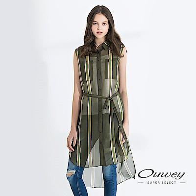 OUWEY歐薇 兩件式輕薄無袖條紋襯衫上衣(綠)