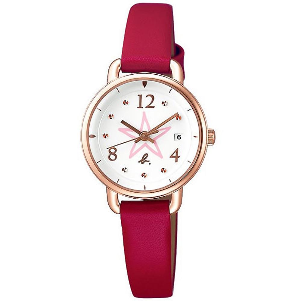 agnes b.晶鑽手繪星星時尚皮革腕錶-白X玫瑰金框/26mm