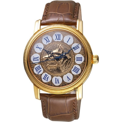Ogival愛其華 好運旺旺來吉利狗年機械錶-玫塊金x咖啡色/42mm