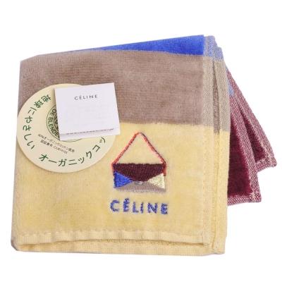 CELINE 經典包包品牌LOGO刺繡圖騰橫紋小方巾(棗藍咖黃)