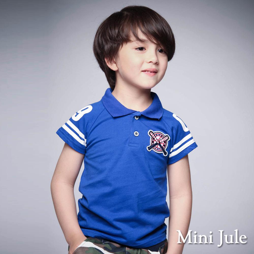 Mini Jule-上衣 棒球造型雙釦短袖POLO衫(藍)