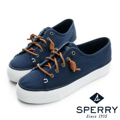 SPERRY 休閒素面熱銷厚底帆布鞋(女)-海軍藍