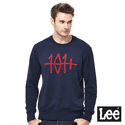 Lee 101+繡花圓領厚TEE-男款-藍色