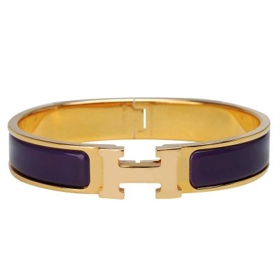 HERMES Clic H LOGO琺瑯細版手環(紫X金-P年)