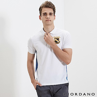 GIORDANO 男裝經典撞色刺繡彈力棉POLO衫-16 標誌白