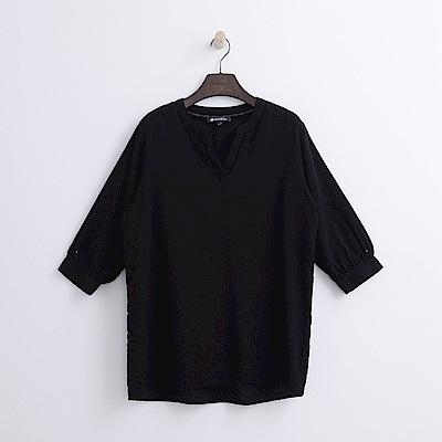 Hang Ten - 女裝 - V領七分蓬袖襯衫-黑色