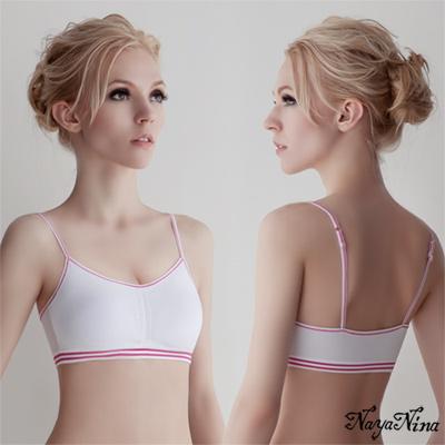 運動內衣 無鋼圈 抓皺細肩運動內衣S-XL(白) Naya Nina