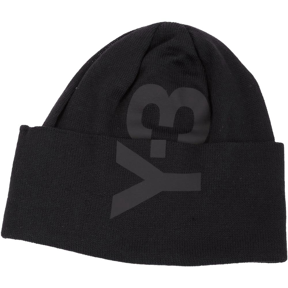 Y-3 Beanie 品牌字母LOGO針織毛帽(黑色)