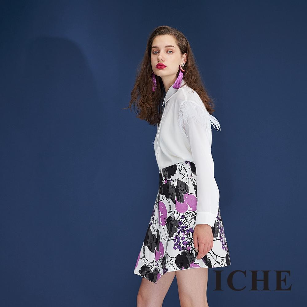 ICHE衣哲 時尚氣質手繪水染印花打摺造型短裙-紫