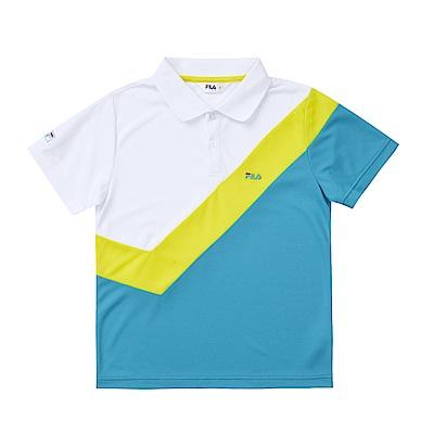 FILA KIDS 男童吸濕排汗POLO衫-白 1POS-4406-WT