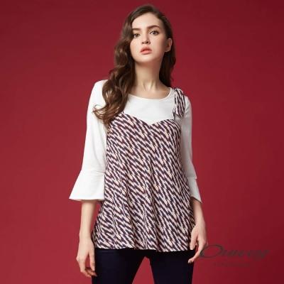OUWEY歐薇 時尚幾何假兩件上衣(白)