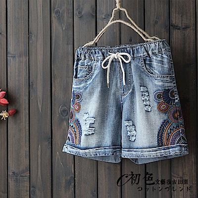 刺繡磨白收腰直筒牛仔短褲-牛仔藍(M-XL可選)    初色 田園
