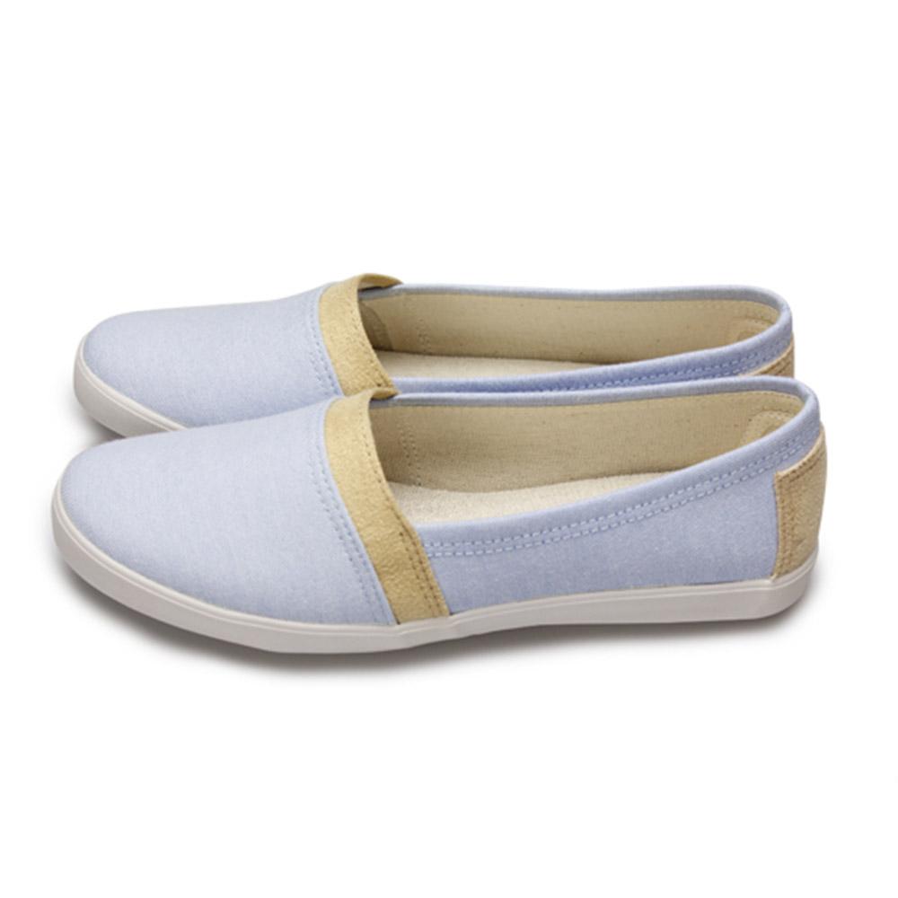 FUFA  MIT 帆布滾邊懶人鞋 (H72)-淺藍色