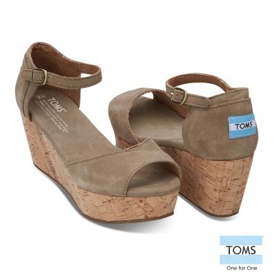 TOMS 麂皮魚口楔型鞋-女款(深褐)