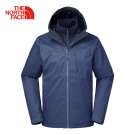 The North Face男款藍色防水保暖刷毛三合一夾克